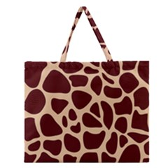 Animal Print Girraf Patterns Zipper Large Tote Bag