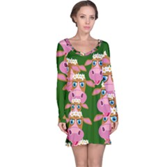 Seamless Tile Repeat Pattern Long Sleeve Nightdress