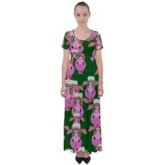Seamless Tile Repeat Pattern High Waist Short Sleeve Maxi Dress