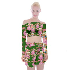Seamless Tile Repeat Pattern Off Shoulder Top With Mini Skirt Set