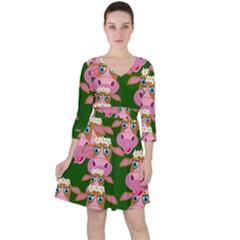 Seamless Tile Repeat Pattern Ruffle Dress
