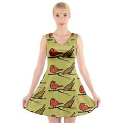 Animal Nature Wild Wildlife V Neck Sleeveless Skater Dress