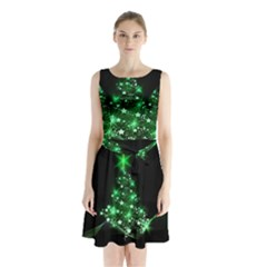 Christmas Tree Background Sleeveless Waist Tie Chiffon Dress
