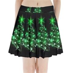 Christmas Tree Background Pleated Mini Skirt