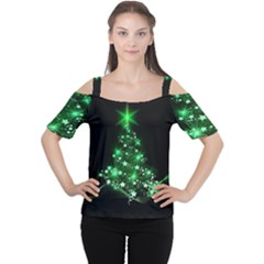 Christmas Tree Background Cutout Shoulder Tee