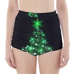 Christmas Tree Background High Waisted Bikini Bottoms