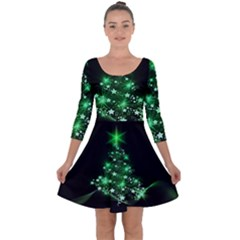 Christmas Tree Background Quarter Sleeve Skater Dress