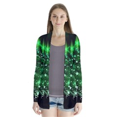 Christmas Tree Background Drape Collar Cardigan