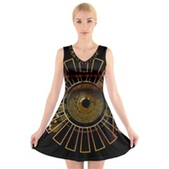 Eye Technology V Neck Sleeveless Skater Dress