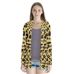 Animal Fur Skin Pattern Form Drape Collar Cardigan