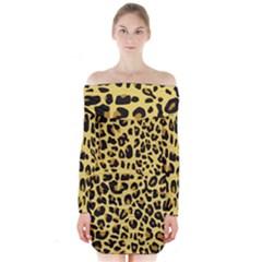 Animal Fur Skin Pattern Form Long Sleeve Off Shoulder Dress