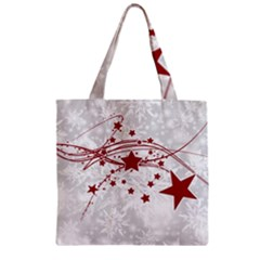 Christmas Star Snowflake Zipper Grocery Tote Bag