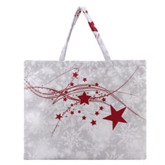 Christmas Star Snowflake Zipper Large Tote Bag