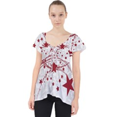 Christmas Star Snowflake Lace Front Dolly Top