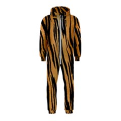 Animal Tiger Seamless Pattern Texture Background Hooded Jumpsuit (kids)