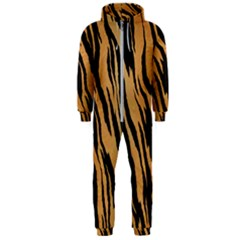 Animal Tiger Seamless Pattern Texture Background Hooded Jumpsuit (men)