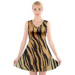 Animal Tiger Seamless Pattern Texture Background V Neck Sleeveless Skater Dress