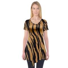 Animal Tiger Seamless Pattern Texture Background Short Sleeve Tunic
