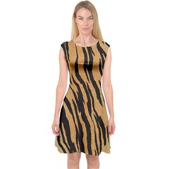 Animal Tiger Seamless Pattern Texture Background Capsleeve Midi Dress