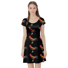 Background Pattern Chicken Fowl Short Sleeve Skater Dress