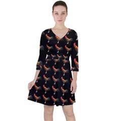 Background Pattern Chicken Fowl Ruffle Dress