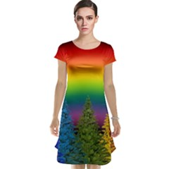 Christmas Colorful Rainbow Colors Cap Sleeve Nightdress