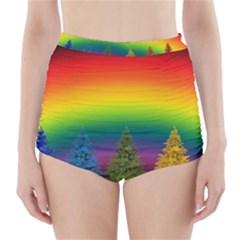 Christmas Colorful Rainbow Colors High Waisted Bikini Bottoms