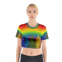 Christmas Colorful Rainbow Colors Cotton Crop Top