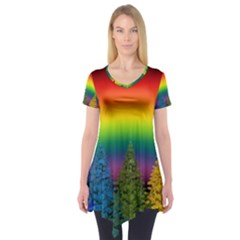 Christmas Colorful Rainbow Colors Short Sleeve Tunic