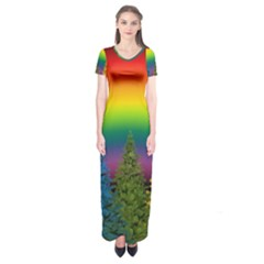 Christmas Colorful Rainbow Colors Short Sleeve Maxi Dress