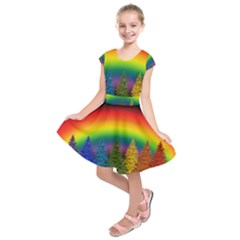 Christmas Colorful Rainbow Colors Kids  Short Sleeve Dress