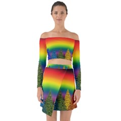 Christmas Colorful Rainbow Colors Off Shoulder Top With Skirt Set