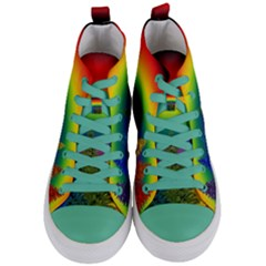 Christmas Colorful Rainbow Colors Women s Mid Top Canvas Sneakers