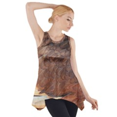 Feather Chicken Close Up Red Side Drop Tank Tunic