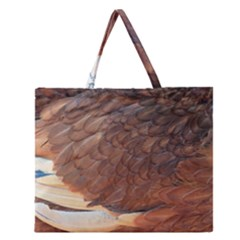 Feather Chicken Close Up Red Zipper Large Tote Bag