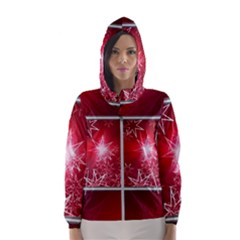 Christmas Candles Christmas Card Hooded Wind Breaker (women)