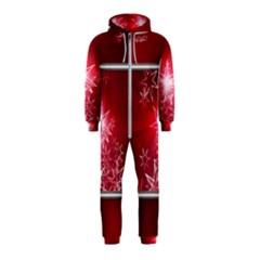 Christmas Candles Christmas Card Hooded Jumpsuit (kids)