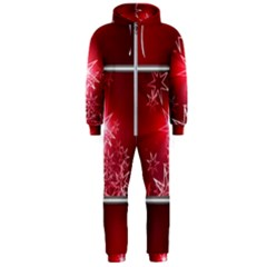 Christmas Candles Christmas Card Hooded Jumpsuit (men)