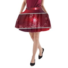 Christmas Candles Christmas Card A Line Pocket Skirt