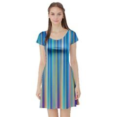 Colorful Color Arrangement Short Sleeve Skater Dress