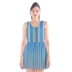 Colorful Color Arrangement Scoop Neck Skater Dress