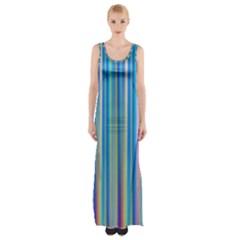 Colorful Color Arrangement Maxi Thigh Split Dress