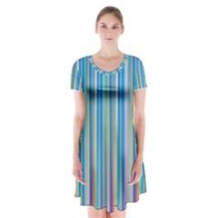 Colorful Color Arrangement Short Sleeve V Neck Flare Dress