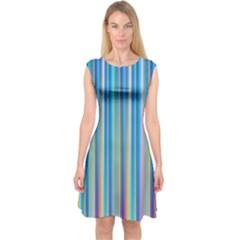 Colorful Color Arrangement Capsleeve Midi Dress