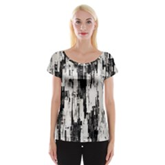 Pattern Structure Background Dirty Cap Sleeve Tops