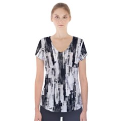 Pattern Structure Background Dirty Short Sleeve Front Detail Top