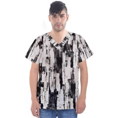 Pattern Structure Background Dirty Men s V Neck Scrub Top
