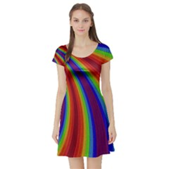 Abstract Pattern Lines Wave Short Sleeve Skater Dress
