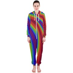Abstract Pattern Lines Wave Hooded Jumpsuit (ladies)