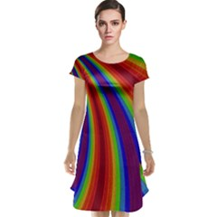 Abstract Pattern Lines Wave Cap Sleeve Nightdress